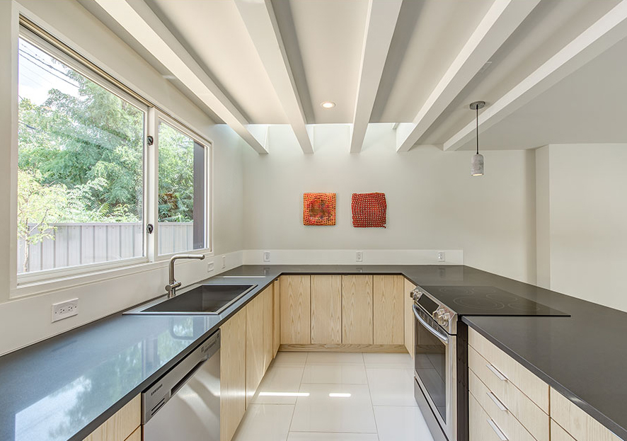 South facing clerestory allows passive solar light but maintains privacy