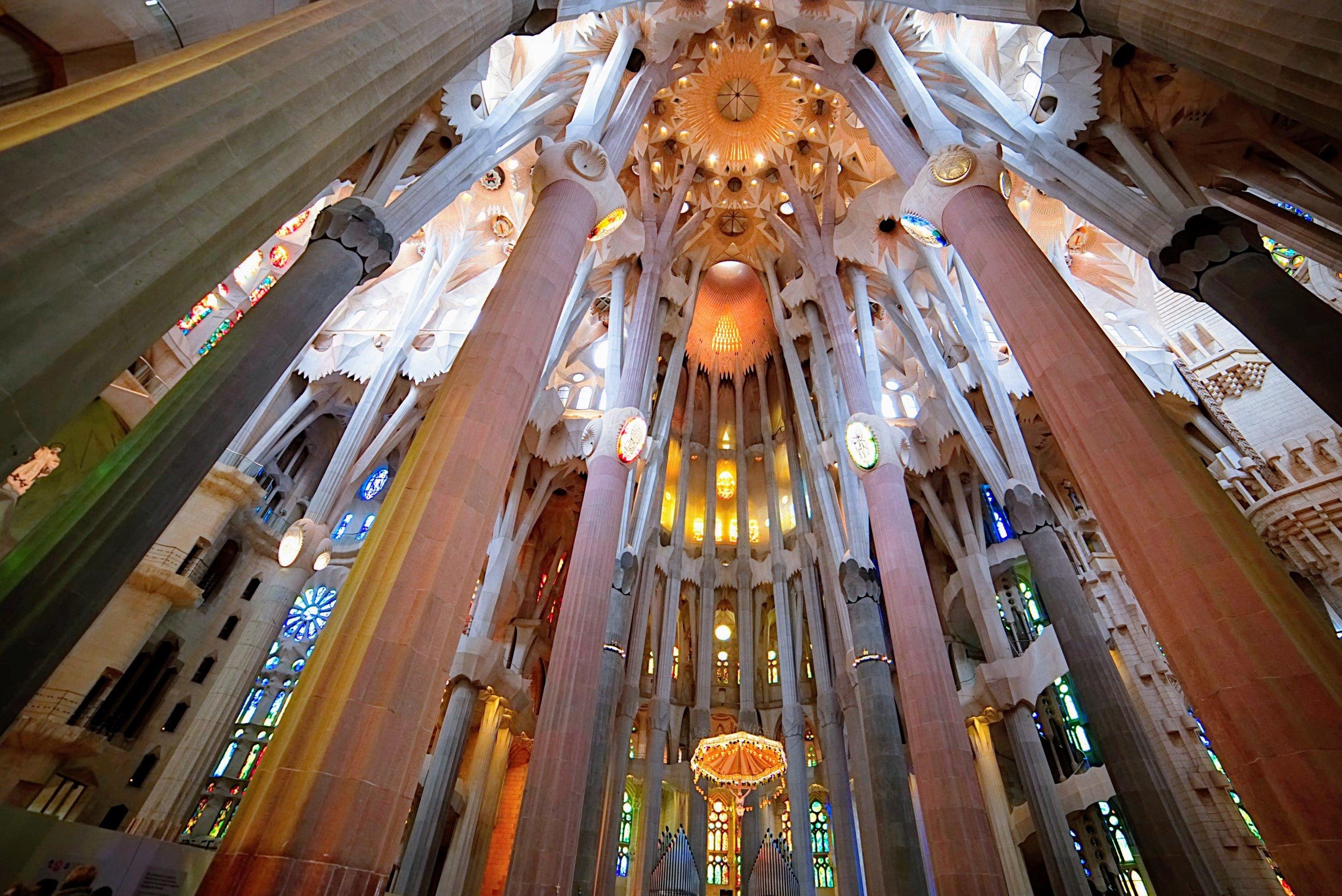 The interior of Sagrada Familia