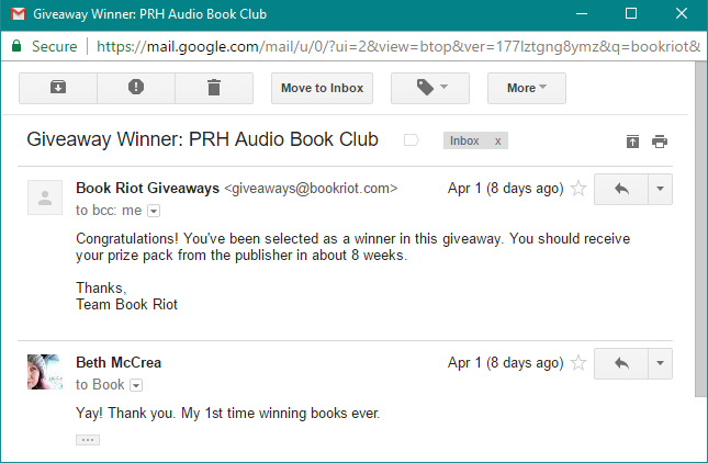 Email noting I won