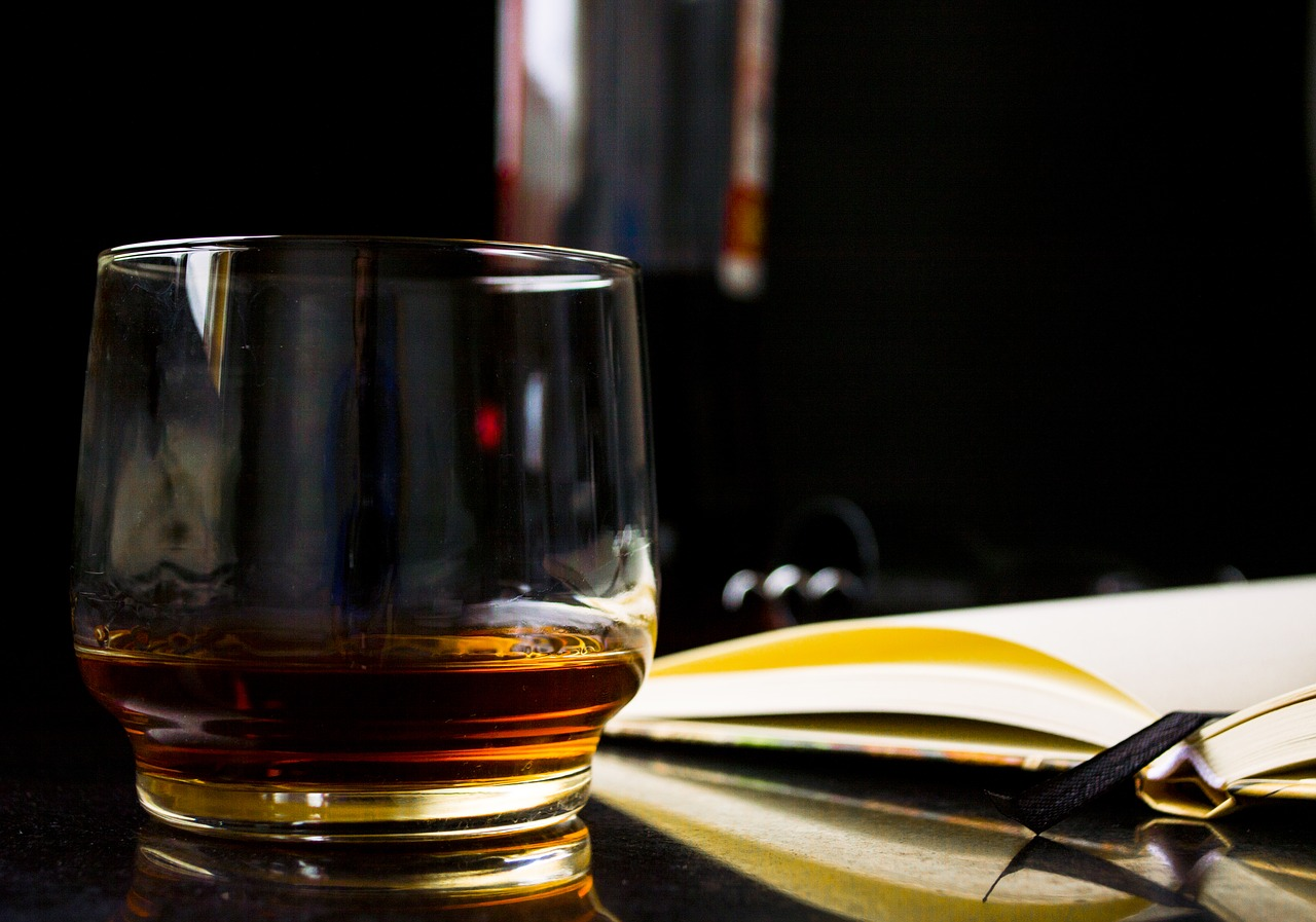 The perfect combination for silent reading: A glass of whiskey & a book