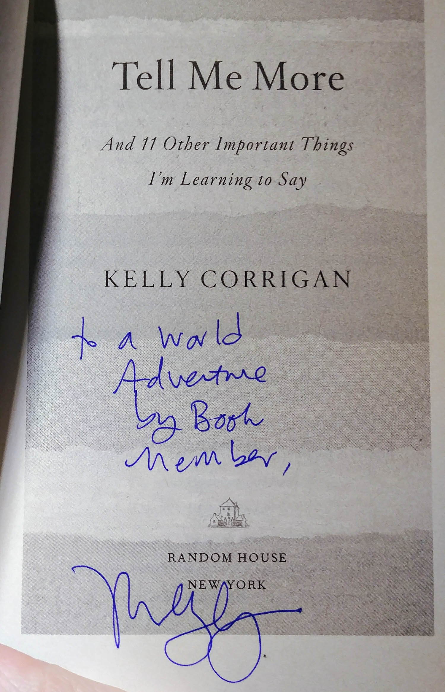 Signed book by author to: A World Adventure by Book club member