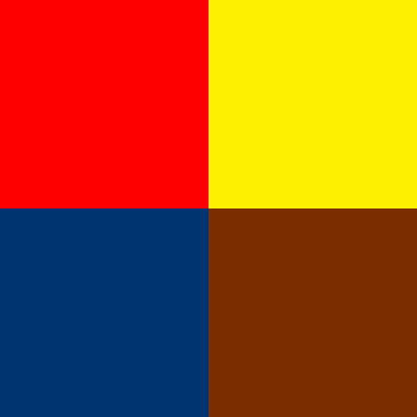 Colors: Red, yellow, blue, ochre