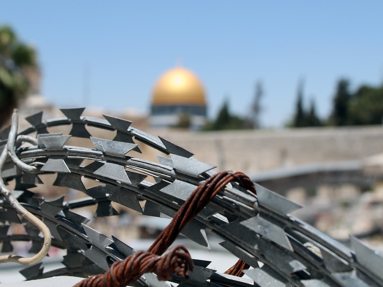 Barbed wire with the Dome of the Mount in the background