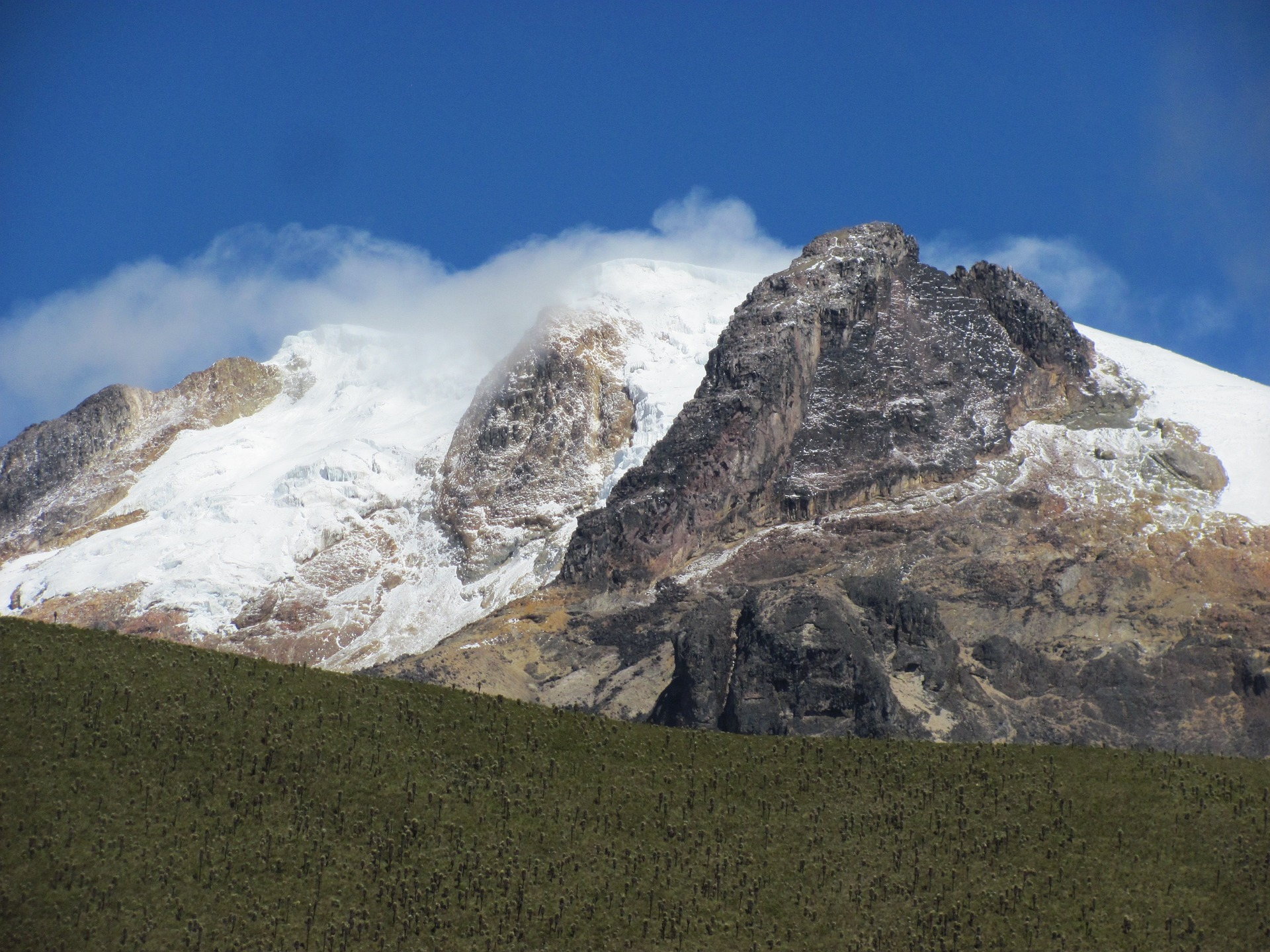 Snow-capped peaks of a rocky, treeless plateau in tropical South America.