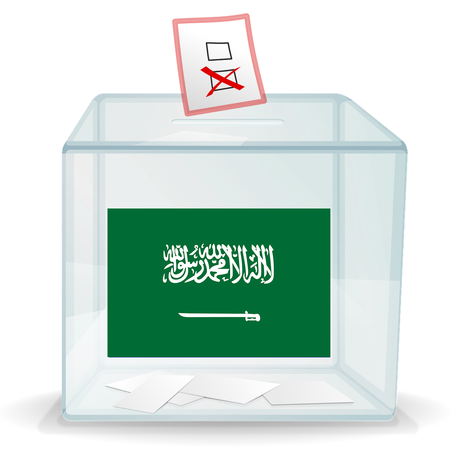 Ballot box with a Saudi Arabia flag on the front