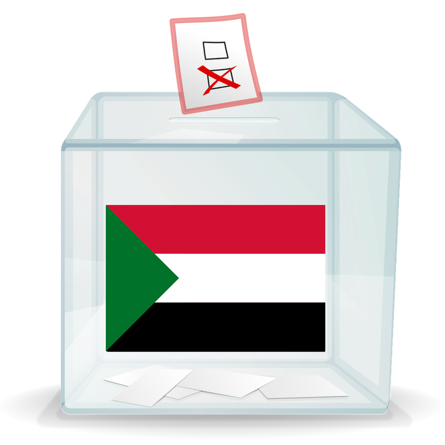 Ballot box with image of Sudanese flag on it