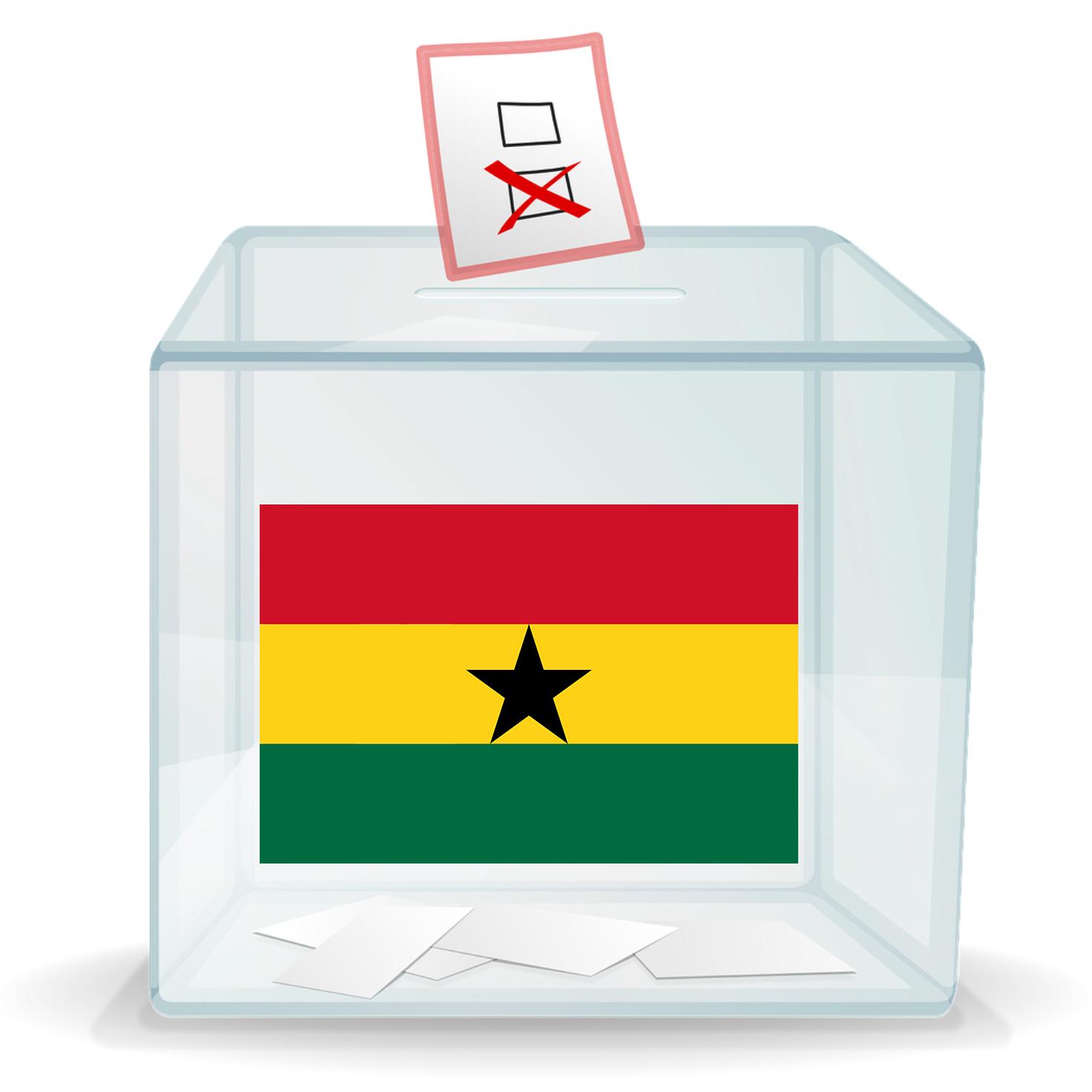 Ballot box with image of Ghana flag on it
