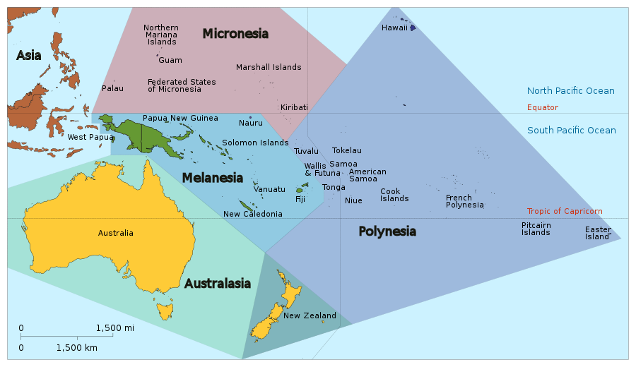 Map of Oceania created by Tintazul distributed under a  CC BY-SA 3.0 license