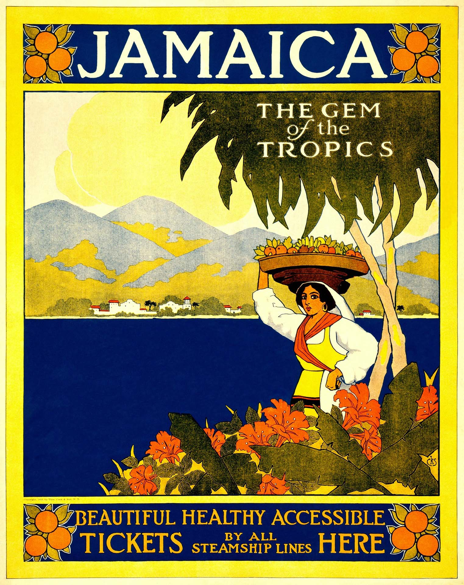 "Vintage poster for travel to Jamaica noting: ""Jamaica: The Gem of the Tropics. Beautiful. Healthy. Accessible. Tickets by all steamship lines here."""