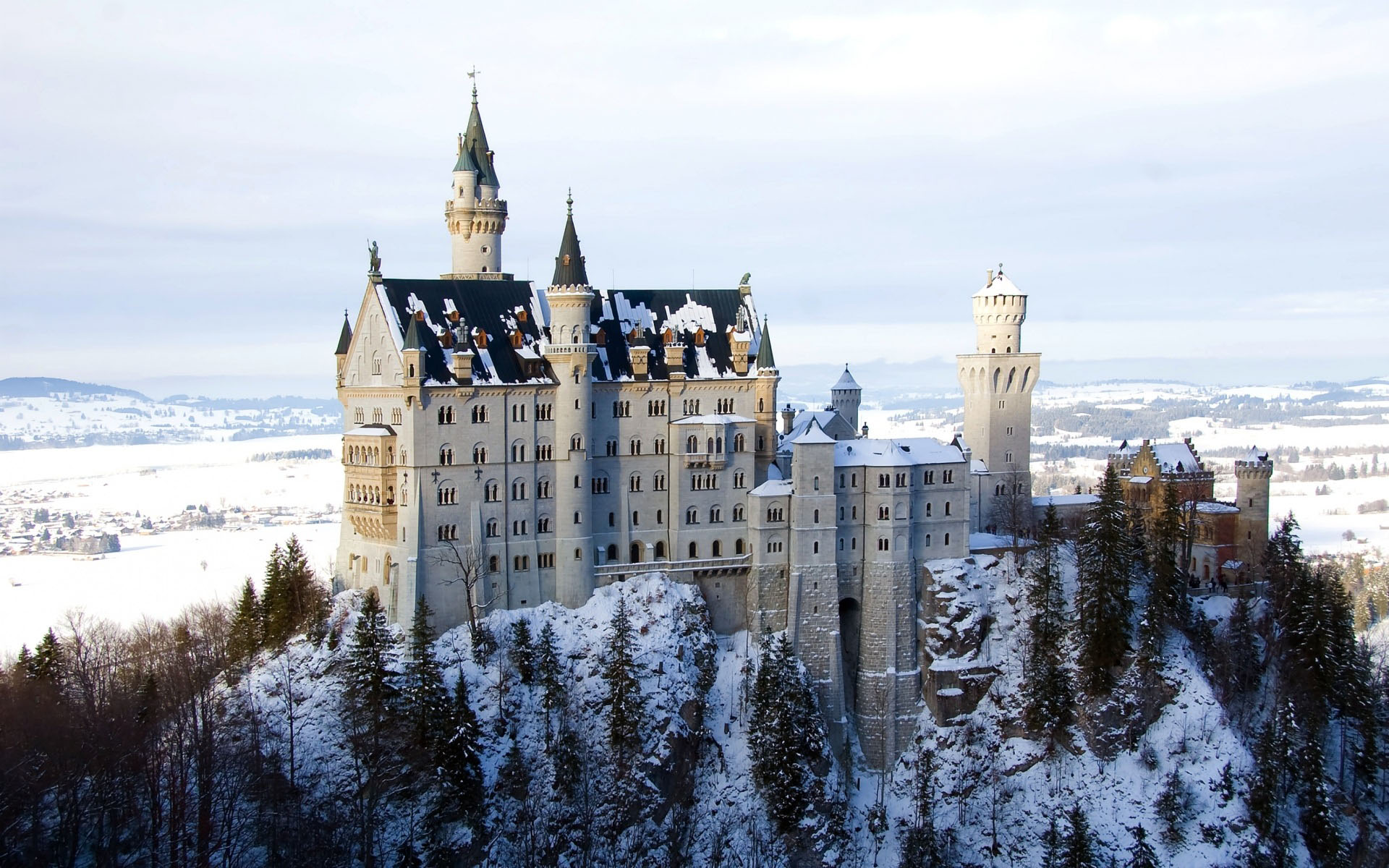 A photo of a castle high atop a snowy mountain surrounded by pine trees.