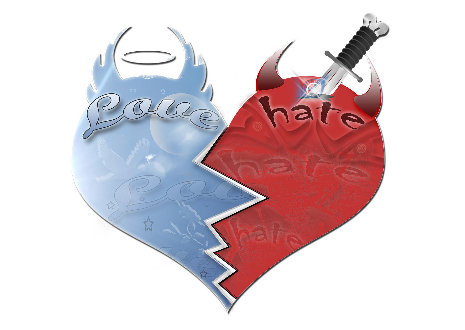 A heart divided in two with one side depicting hate and the other love.