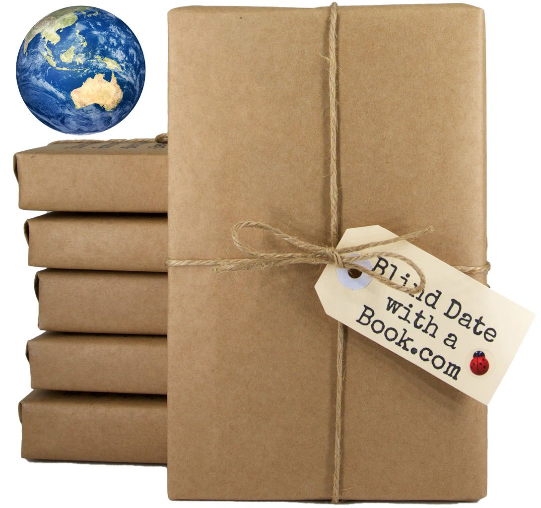 Photo of brown-paper wrapped books tied up with string & a tag which reads, BlindDatewithaBook.com. A small image of a globe appears above the stack of books.