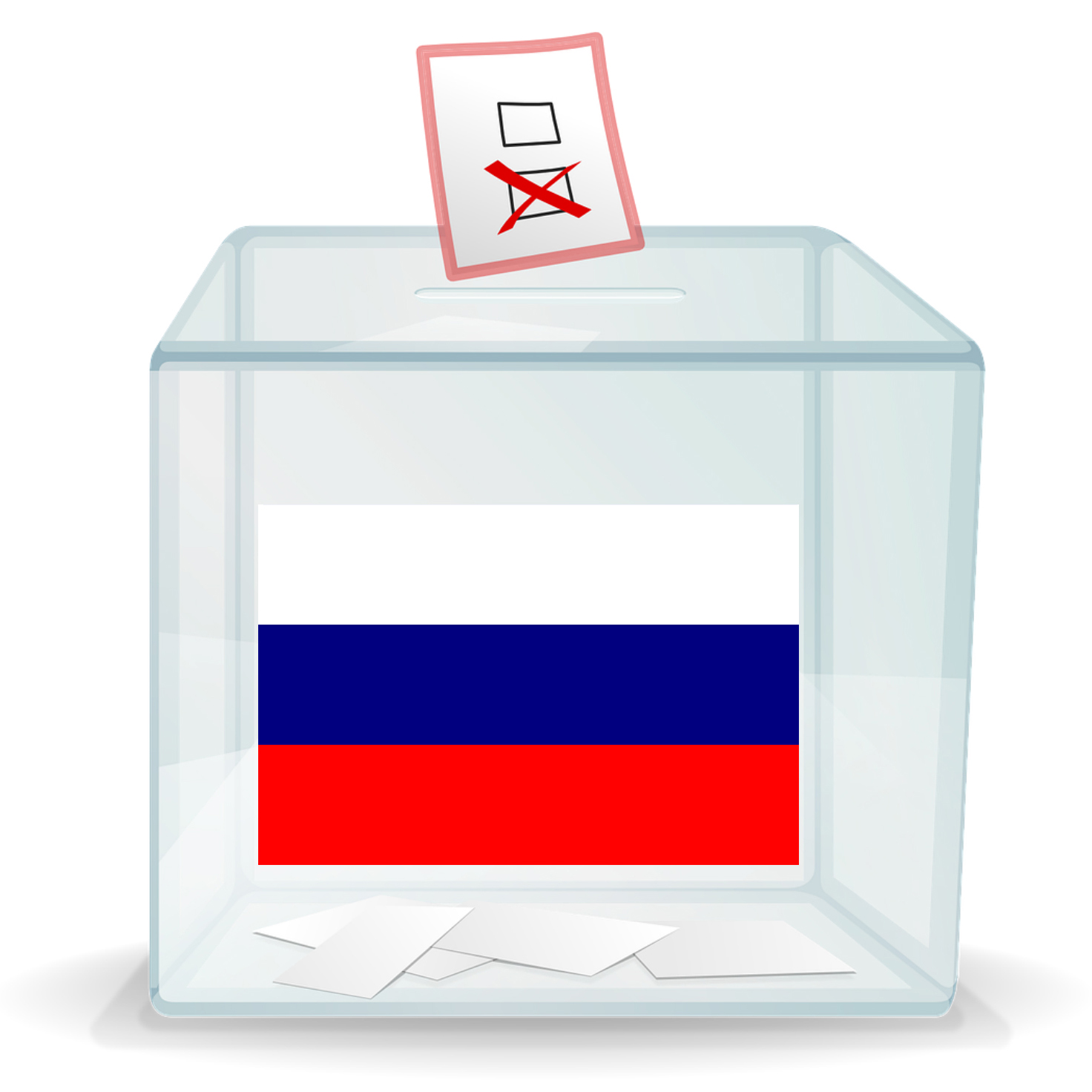 Ballot box with a Russian flag on it