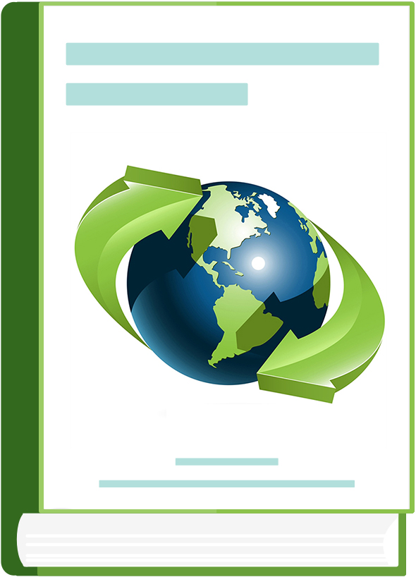 A green book with a picture of the blue-green Earth & green arrows surrounding it mimicking the symbol for recycling.