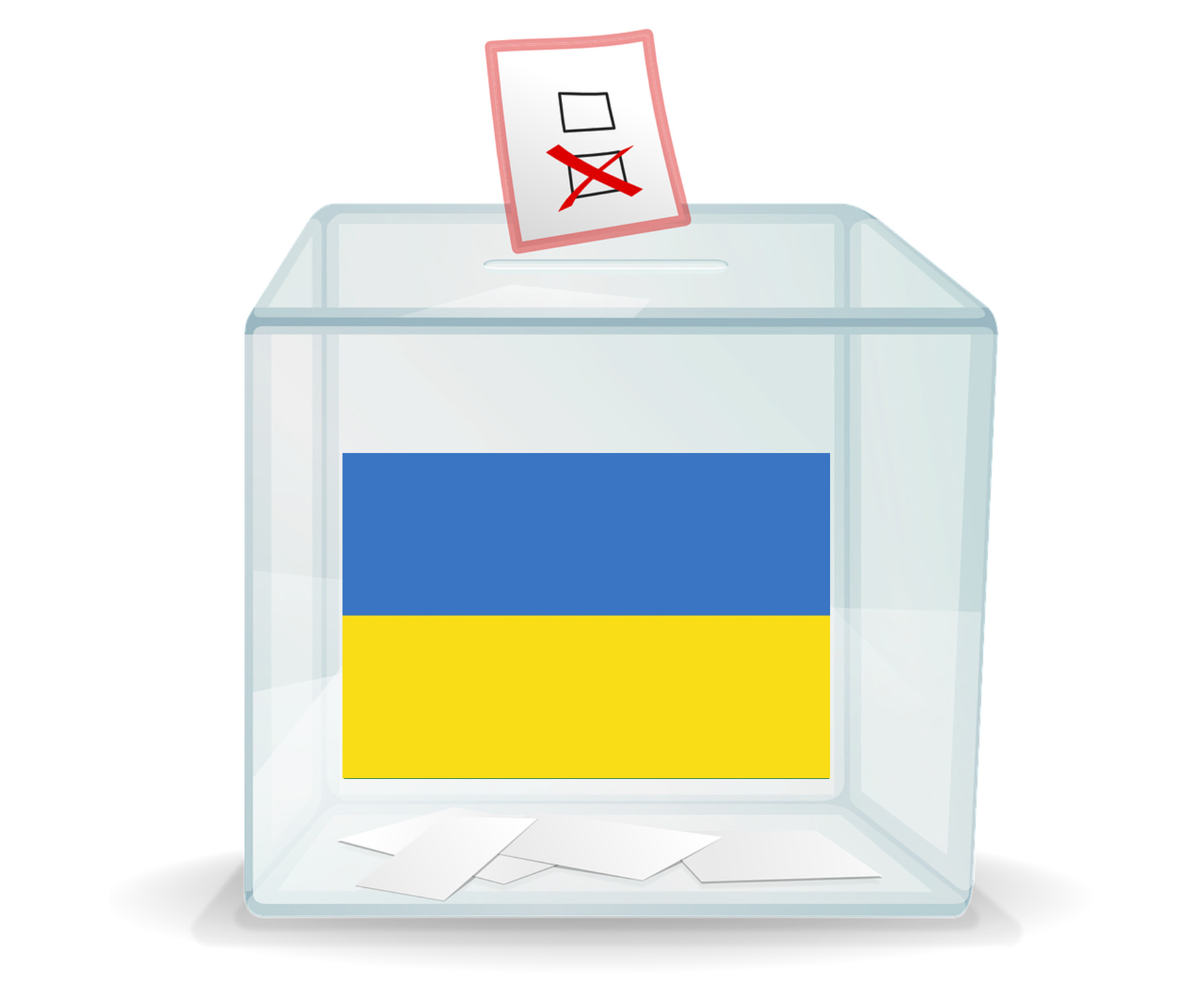 A ballot box with a Ukrainian flag on the front.
