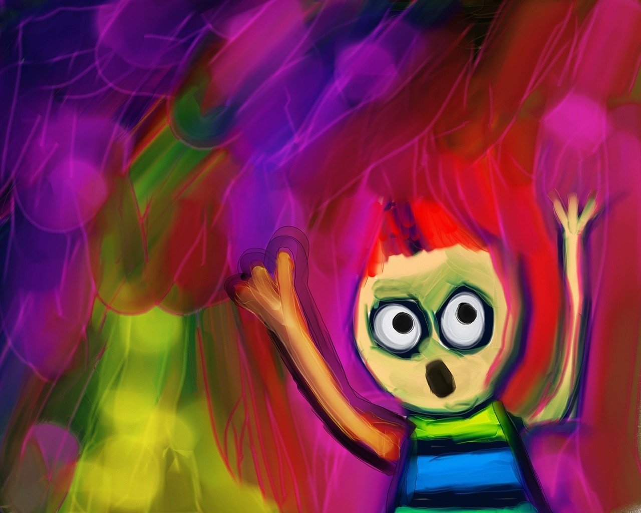 A colorful, childlike painting depicting a character with their hands raised up, eyes wide, & their mouth open in surprise.