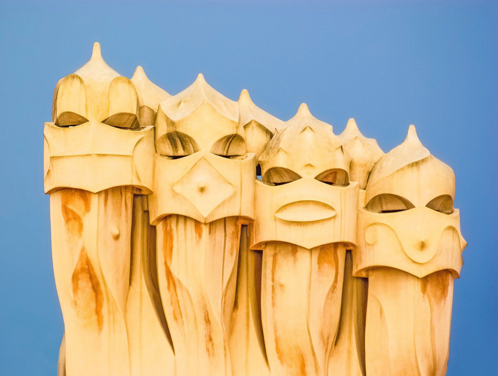 """A piece of architecture from Casa Milà (popularly known as La Pedrera or """"The Stone Quarry"""", a reference to its unconventional rough-hewn appearance. This is a modernist building in Barcelona designed by architect Antoni Gaudí built between 1906 and 1912."""
