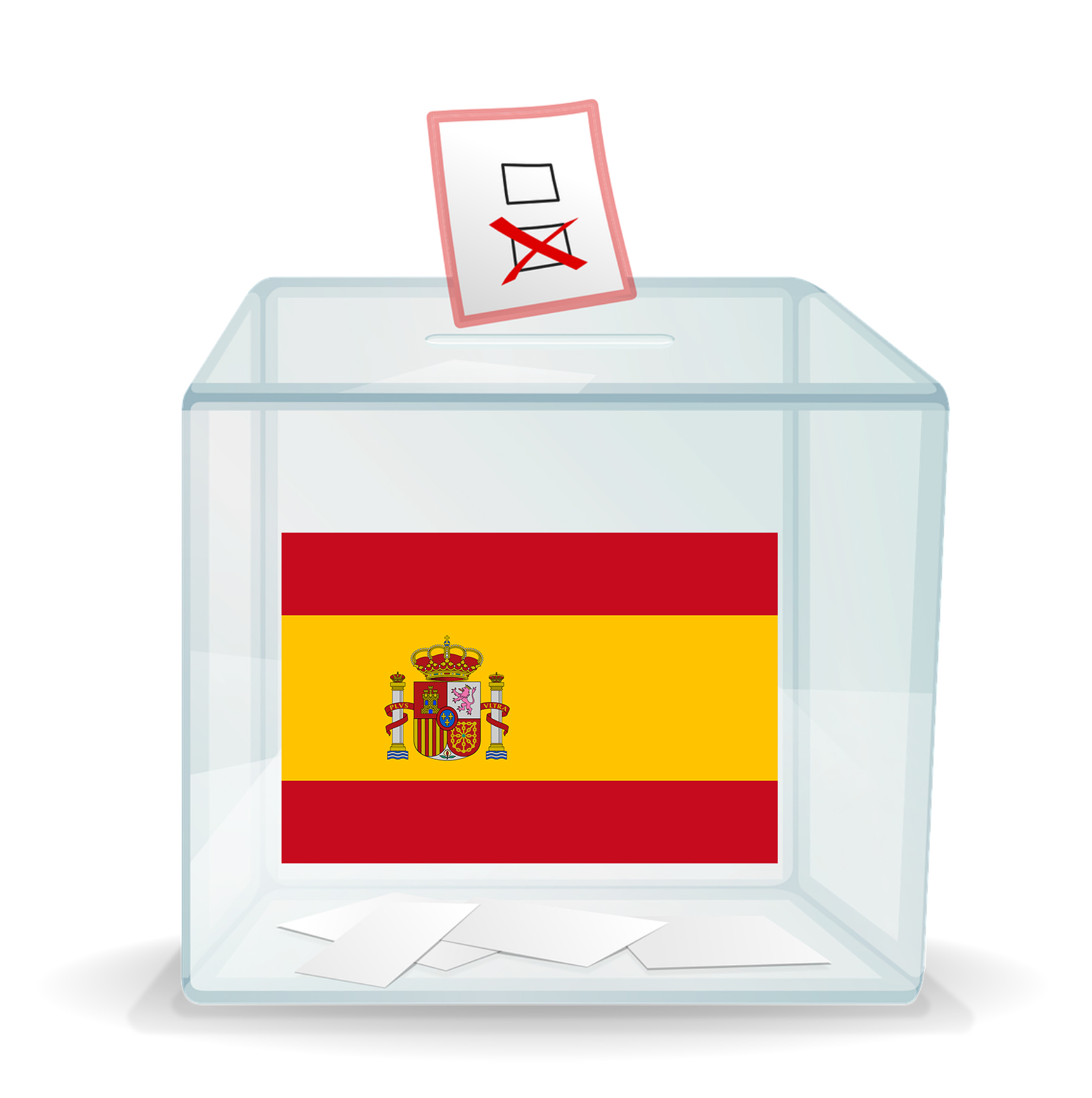 A ballot box with the flag of Spain on the front.