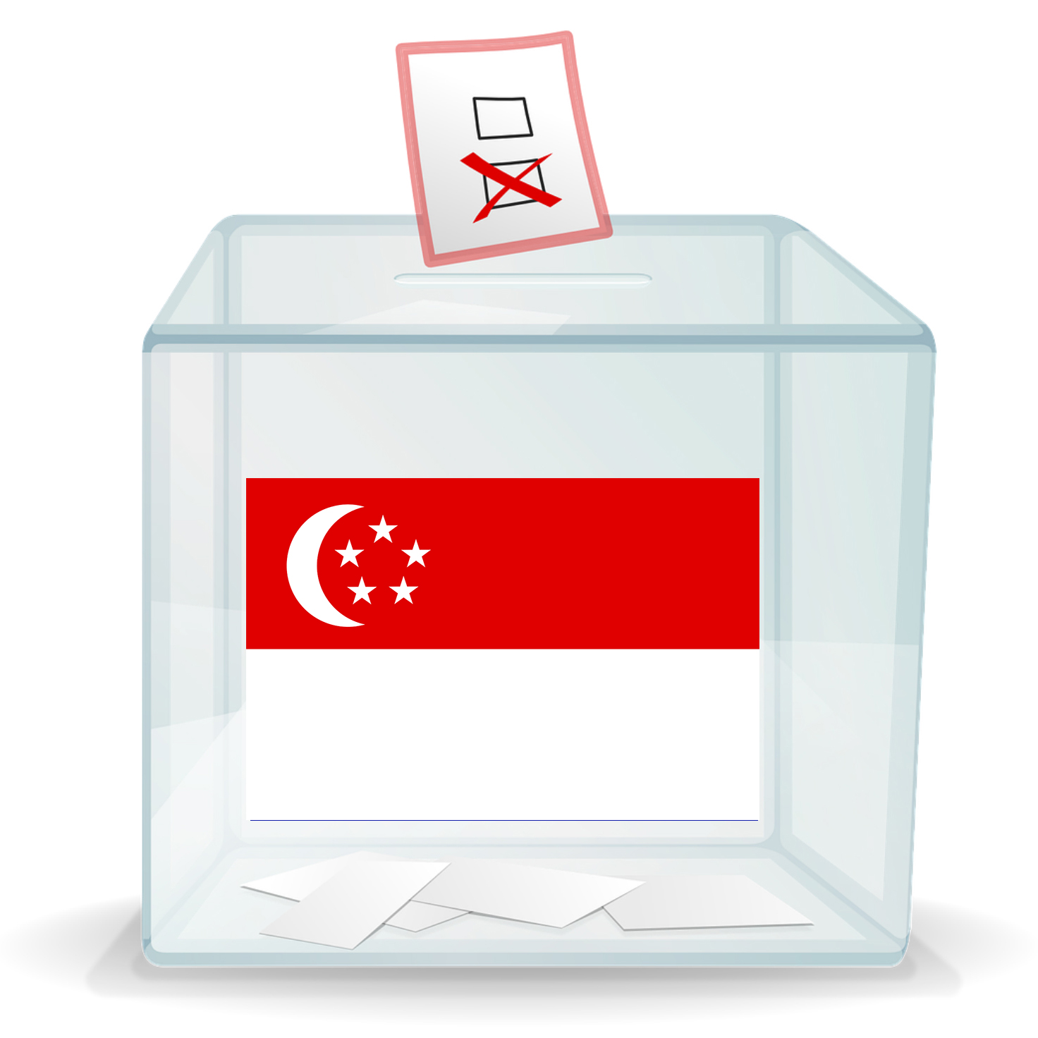 A ballot box with a flag from Singapore on the front.