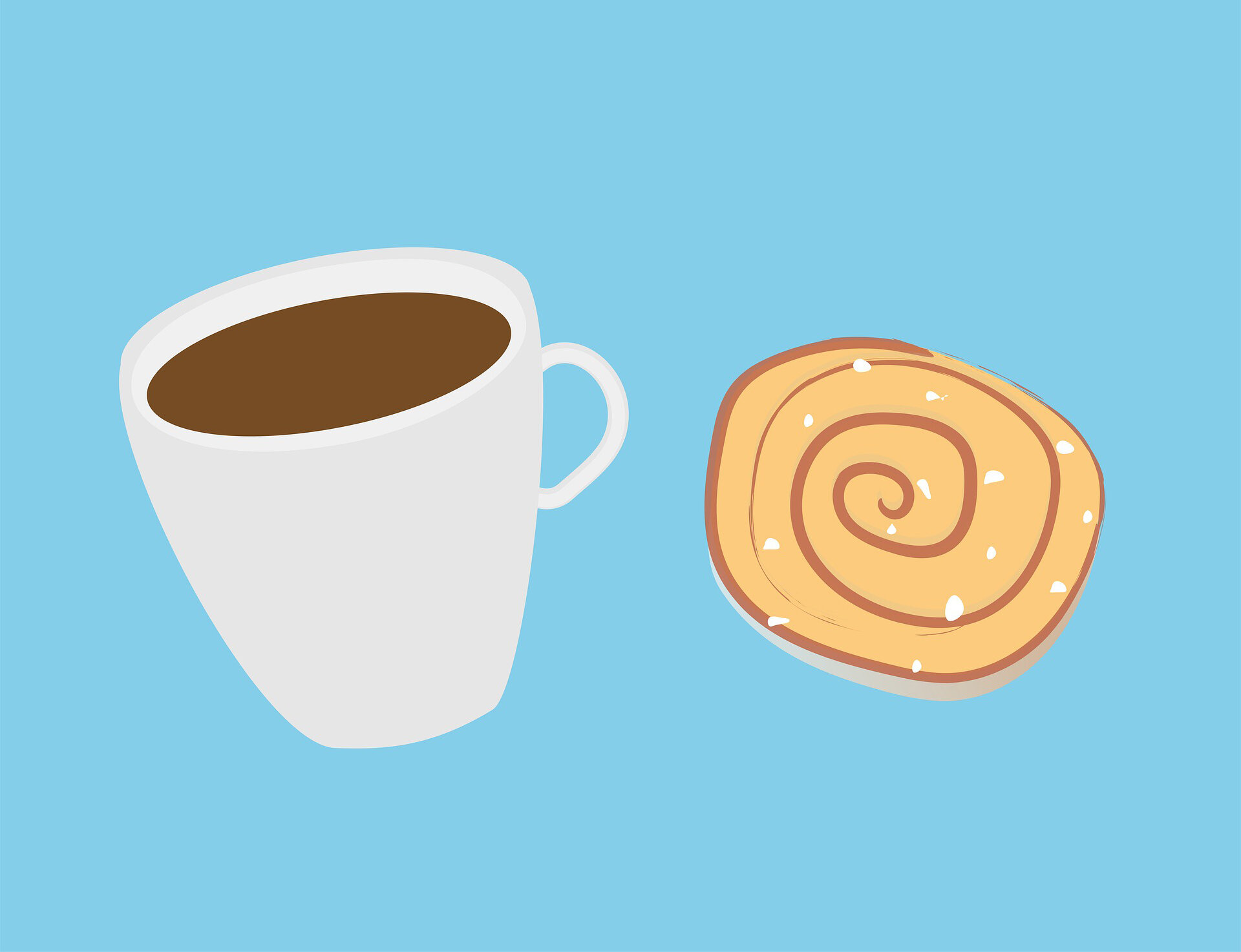 Cartoon-like drawing of coffee in a mug & a spiraled pastry.