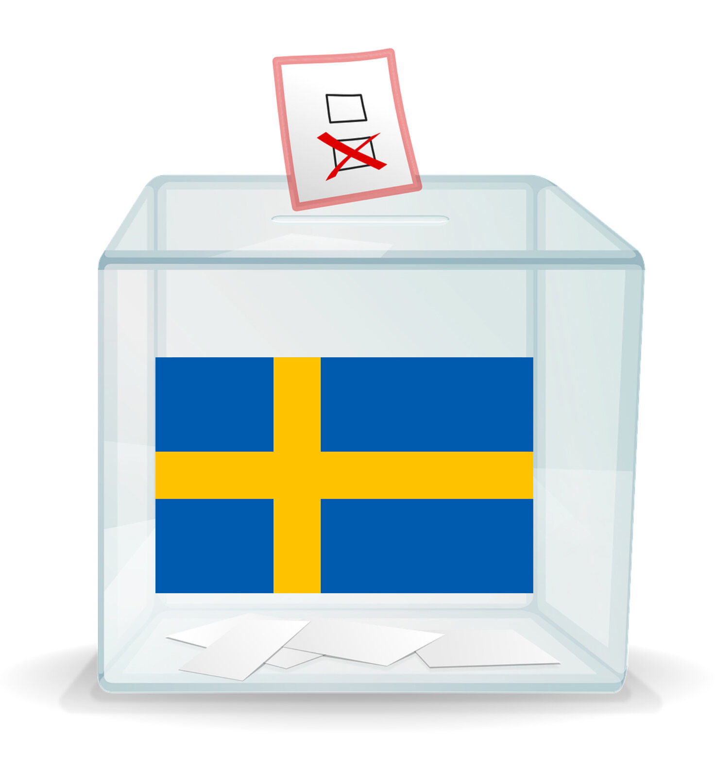 Ballot box with an image of the Swedish flag on the front.