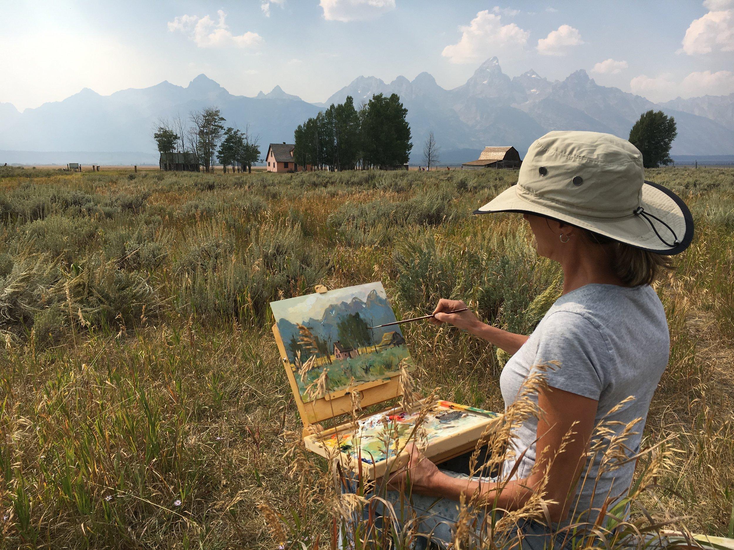 Heike Talbert Plein Air Painting - Morman Road Jackson Hole August 2016