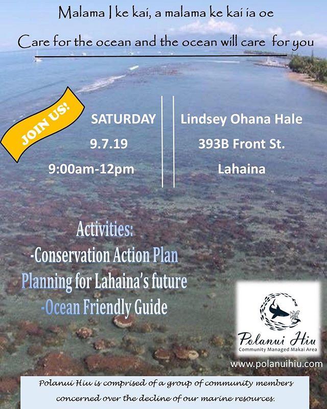 Malama I me Kai, e malama me Kai ia oe.  Care for the ocean and the ocean will care for you.  Join us this Saturday, Sept 7 at 9am for our monthly Polanui Hiu meeting.  We are excited to share Lahaina's CAP.  Visit our website: www.polanuihiu.com for more details or info on Polanui Hiu.  #polanuihiu #makairestoration #lahaina #maui #protectourreefs
