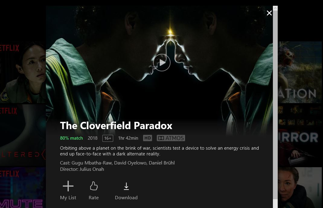 Screenshot grabbed from Netflix Windows 10 Application