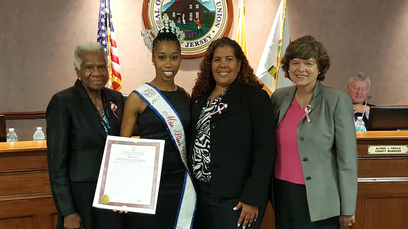 l. to r.  Freeholder Vernell Wright, Miss Black USA and Rahway resident Daphne Lee, Freeholders Linda Carter and Bette Jane Kowalski.