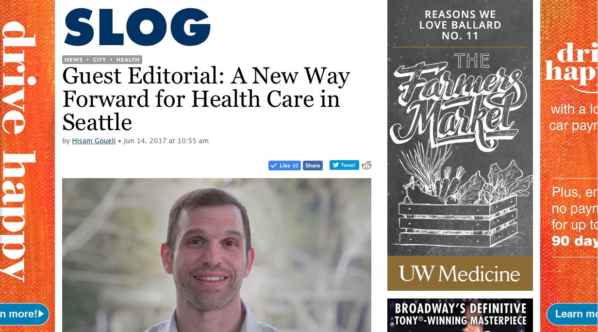 Read Dr. Hisam's guest editorial.  He talks about how Seattle can lead the way in affordable, quality healthcare.