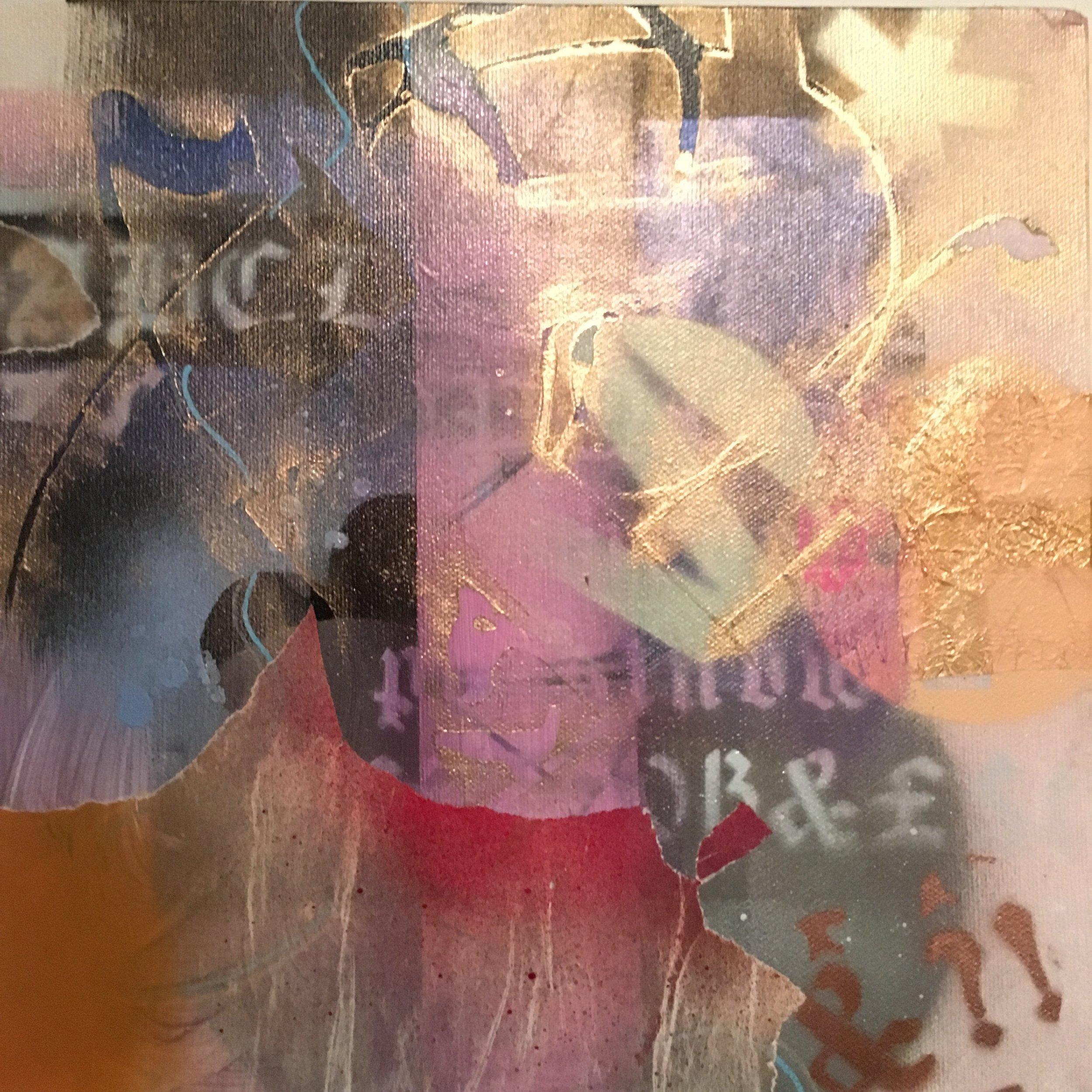 "Ancient Story 10""x 10"" mixed media on canvas"