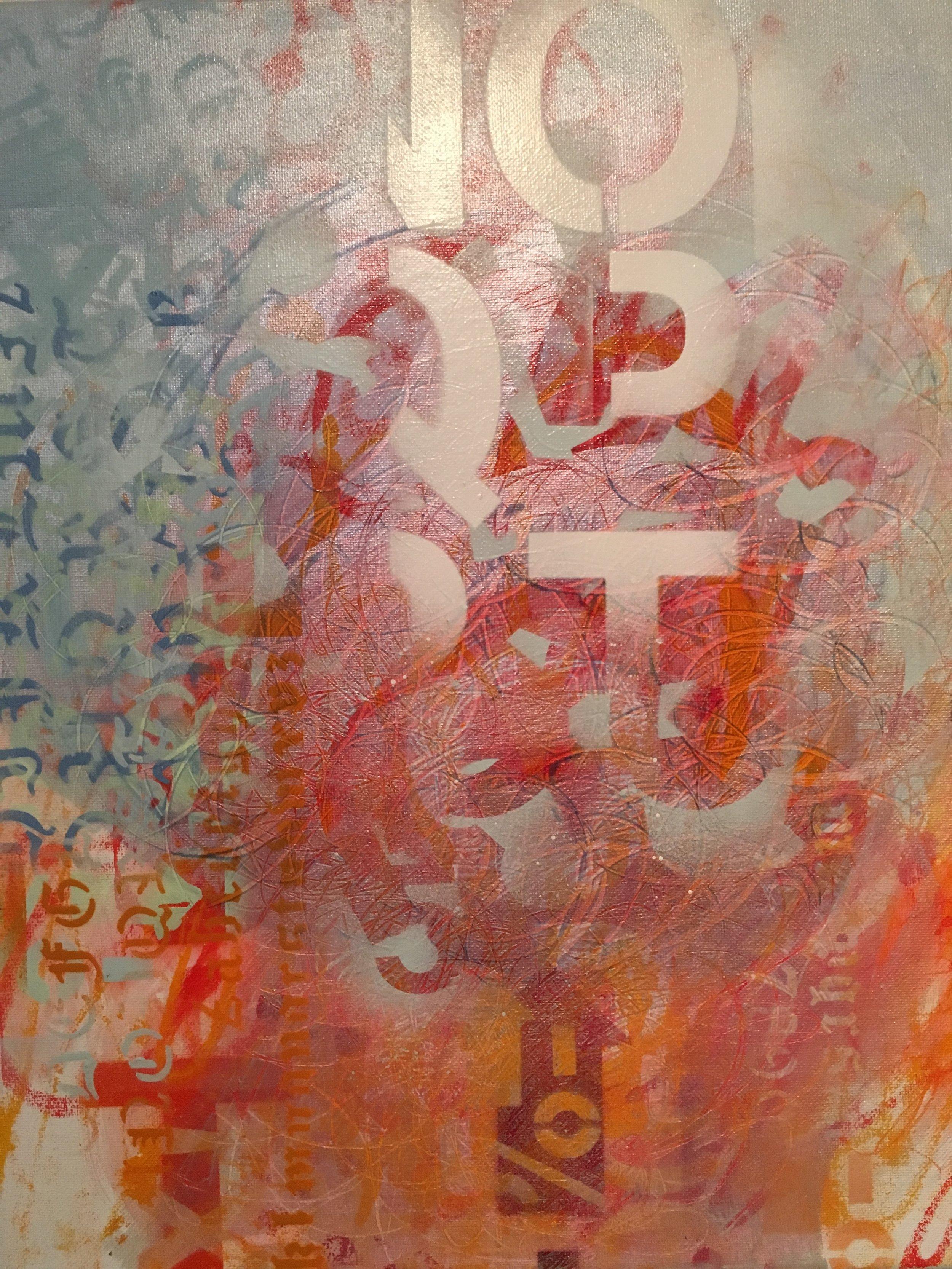"""Decipher  16""""x20"""" acrylic on canvas"""