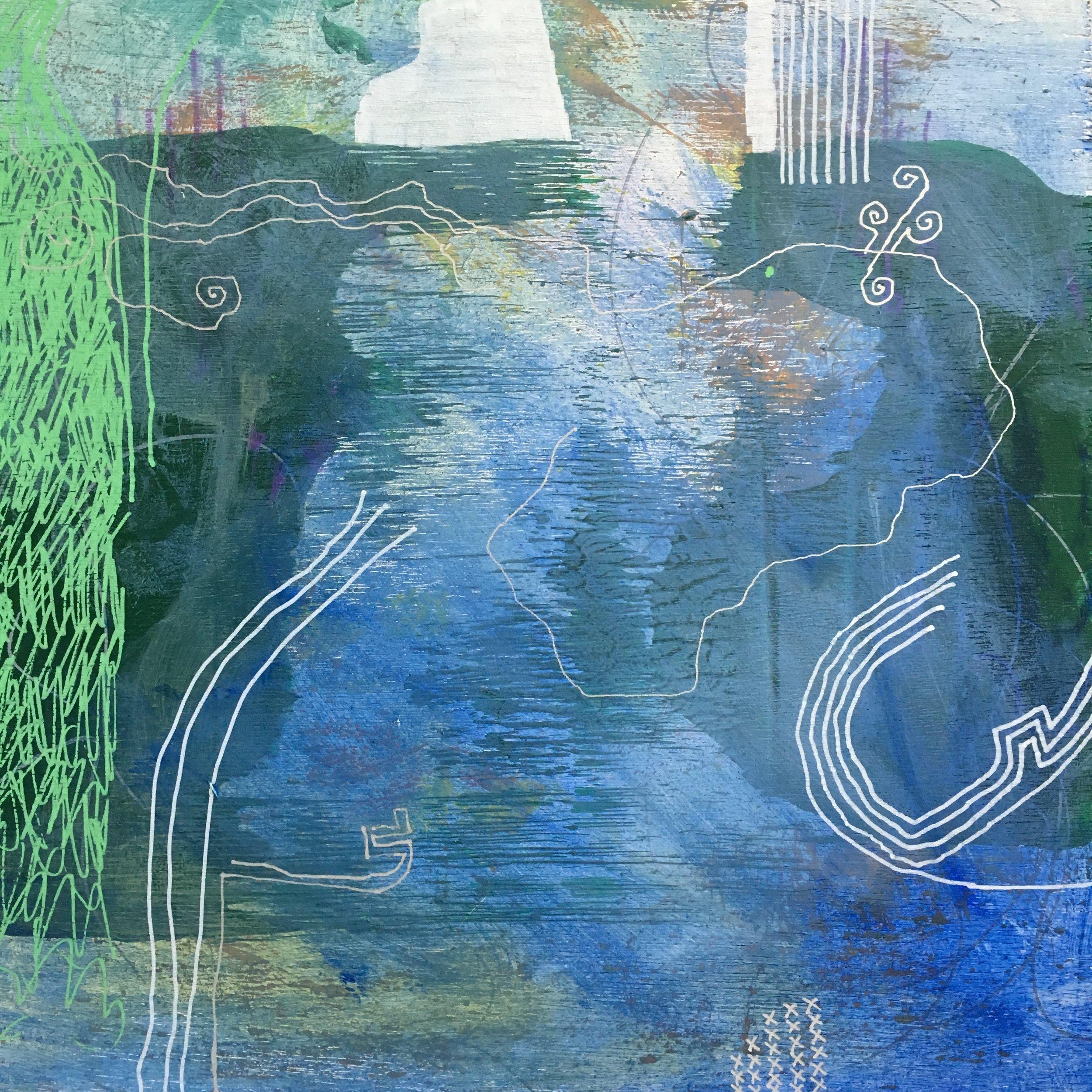 "Opening Blue 12""x 12"" acrylic on wood panel"