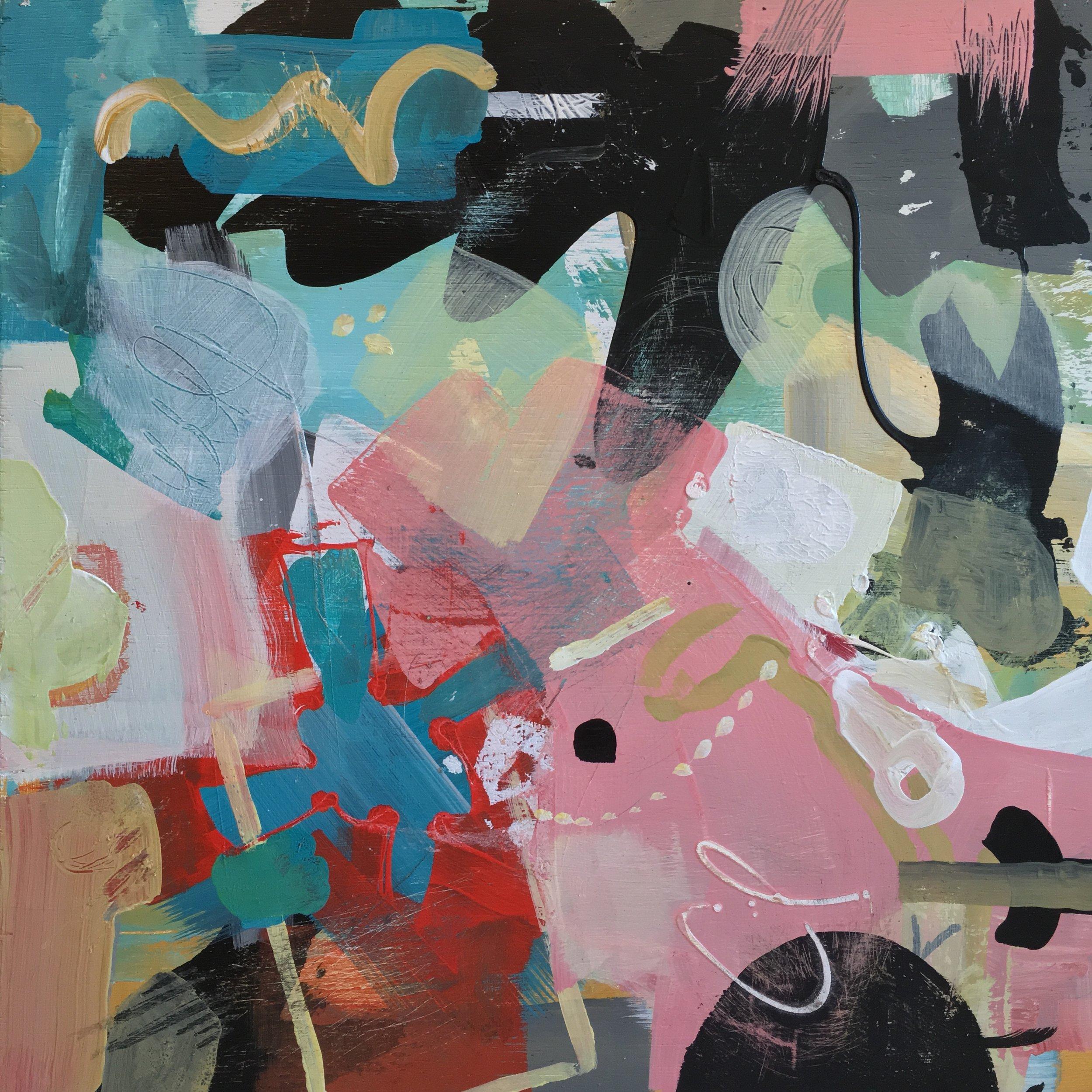"Music Musings: Progression 12""x 12"" acrylic on wood panel"