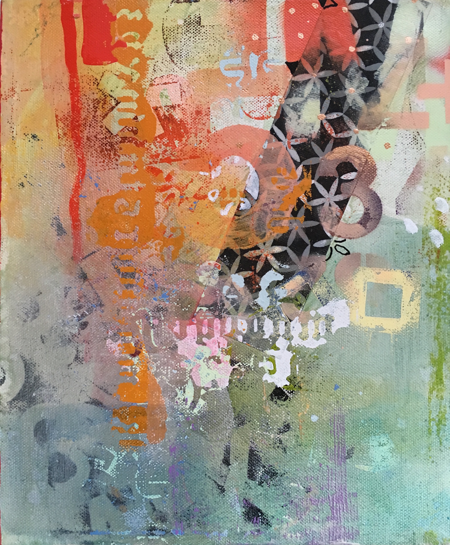 "Decipher II 10""x12"" mixed media on canvas"