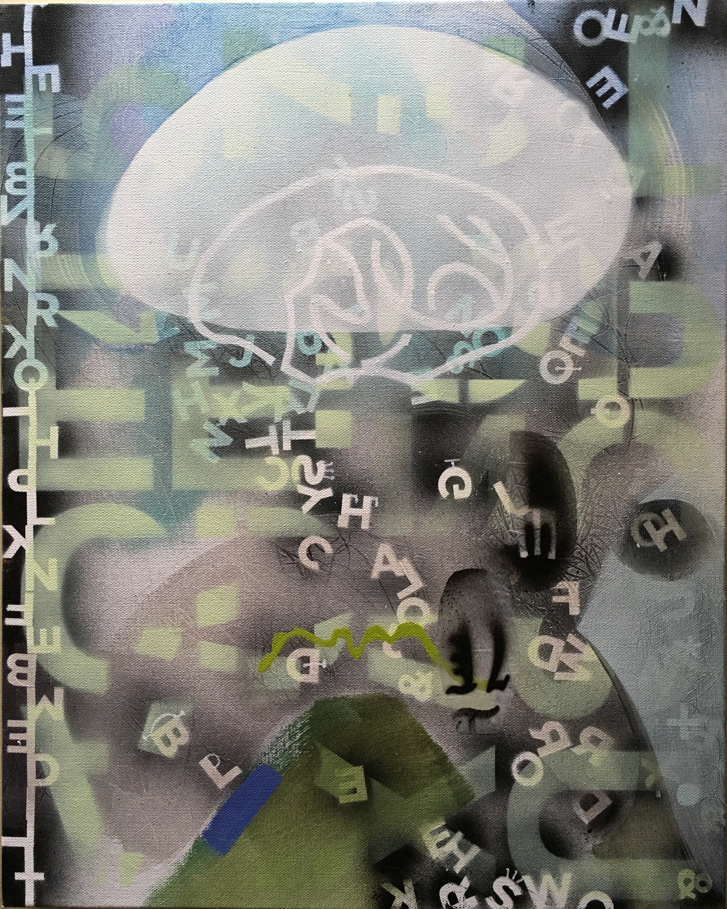 "Circular Thinking 16""x 20"" mixed media on canvas"