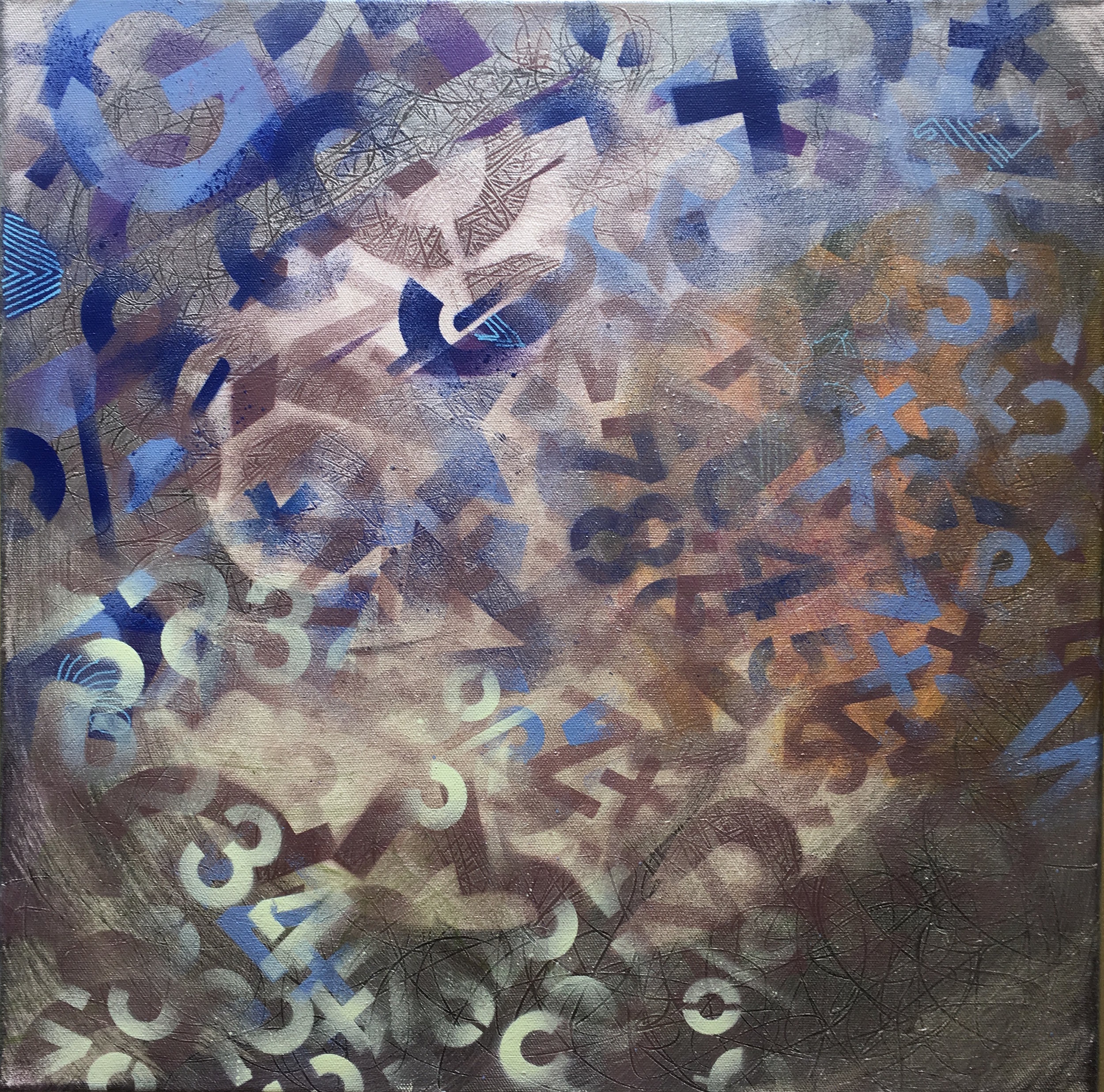 """Decipher: Time Mixing 20""""x 20"""" acrylic on canvas"""