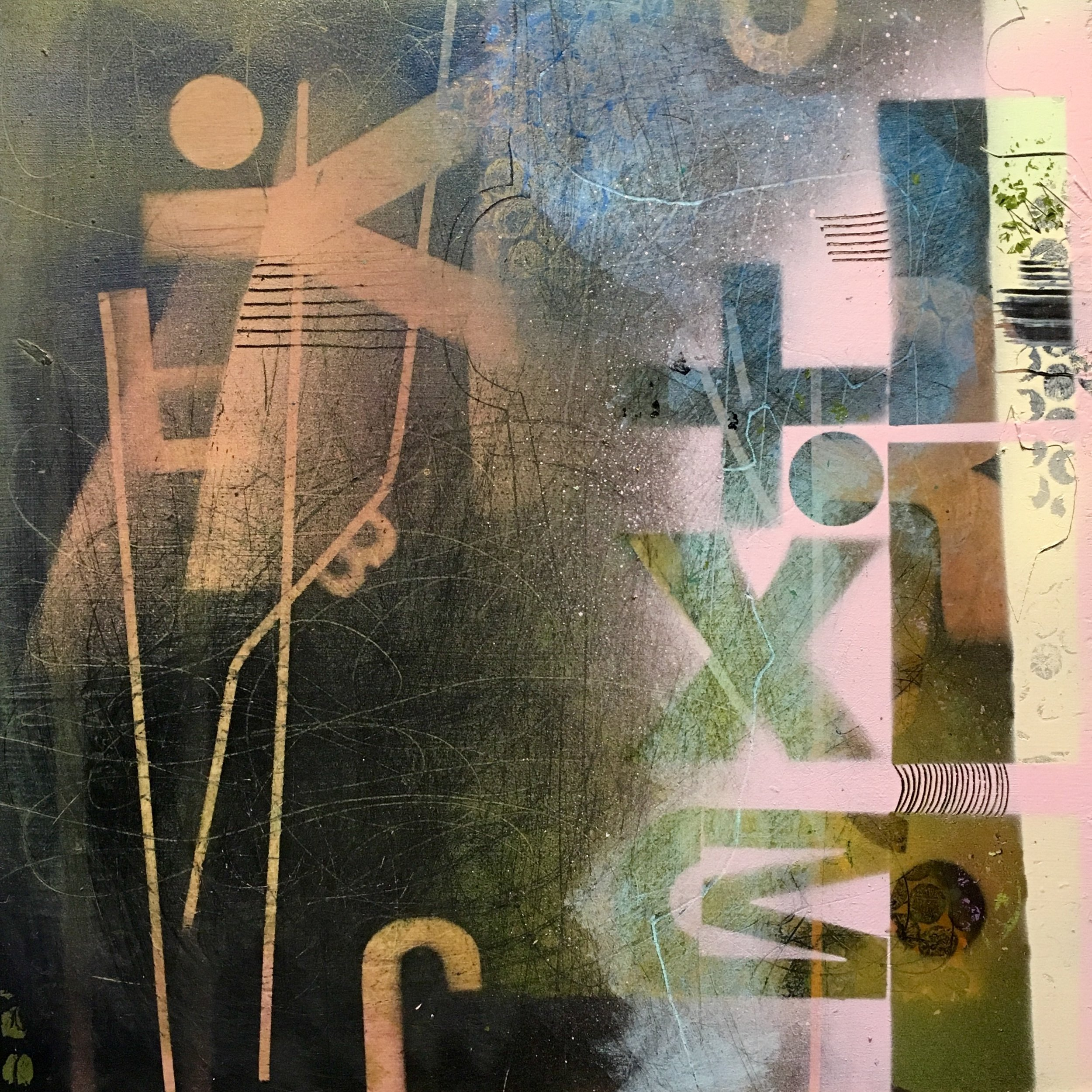 """Solving for X    12""""x12"""" mixed media on wood panel"""