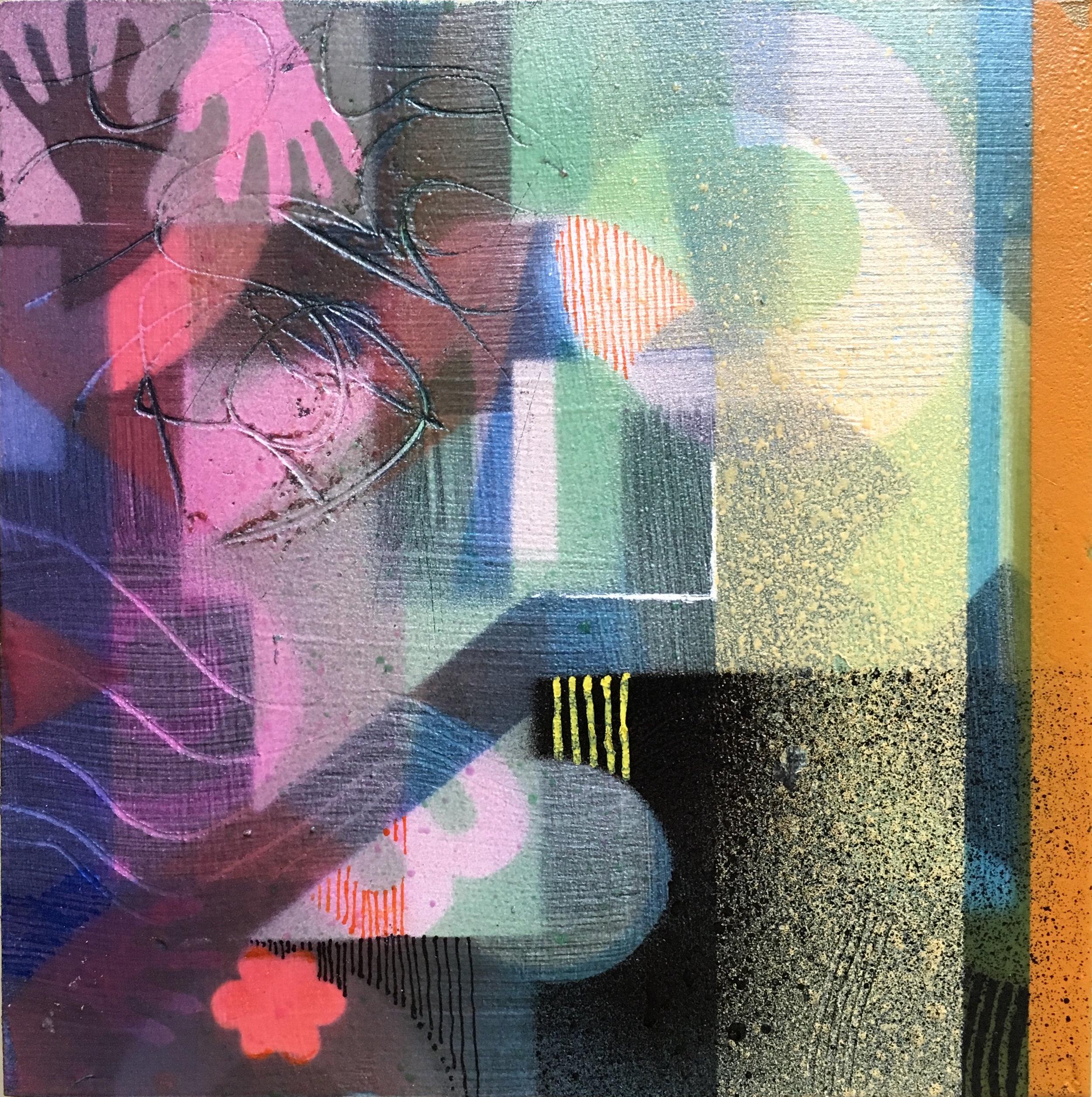 "Hand Dancing 5""x 5"" mixed media on cradled panel"