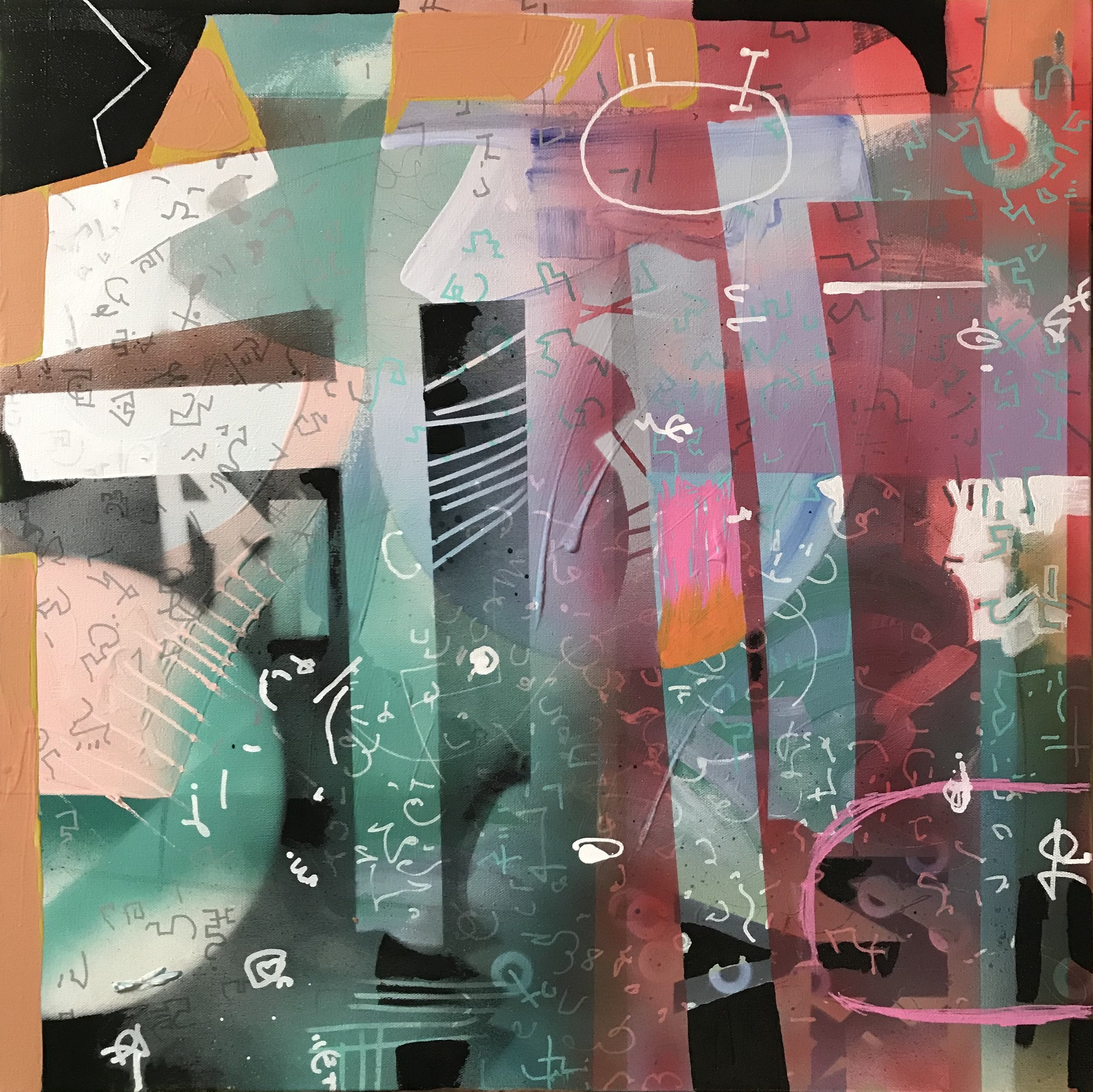 "Lost Language 24"" x 24"" acrylic on canvas"