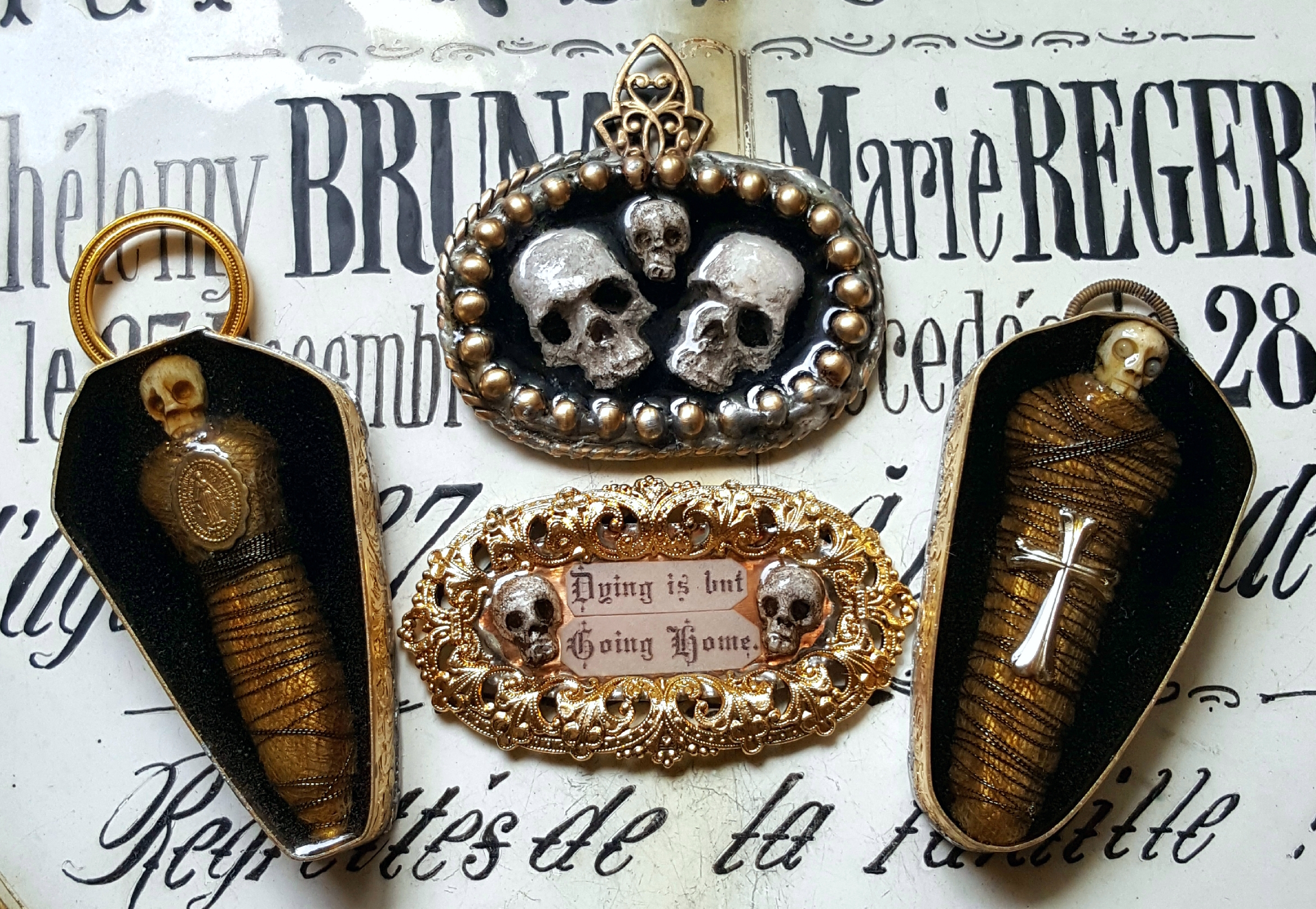 """Dying is but going home"" – Memento Mori jewellery made by Kimberly Cochrane."