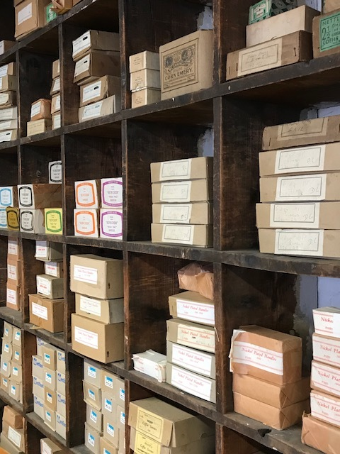Shelves full of products ready for orders.