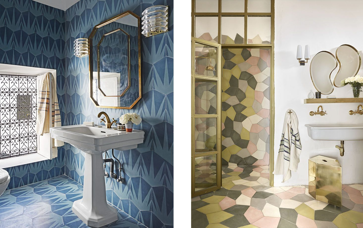 The guest bathroom's sink was purchased at a flea market, the fixtures are from the Mellah district of Marrakech, and the sconces are 1970s Italian.  Right:  In the master bath, the sink is from Marrakech. The brass shelf and mirrors are by Popham+, and the 1950s sconce is French