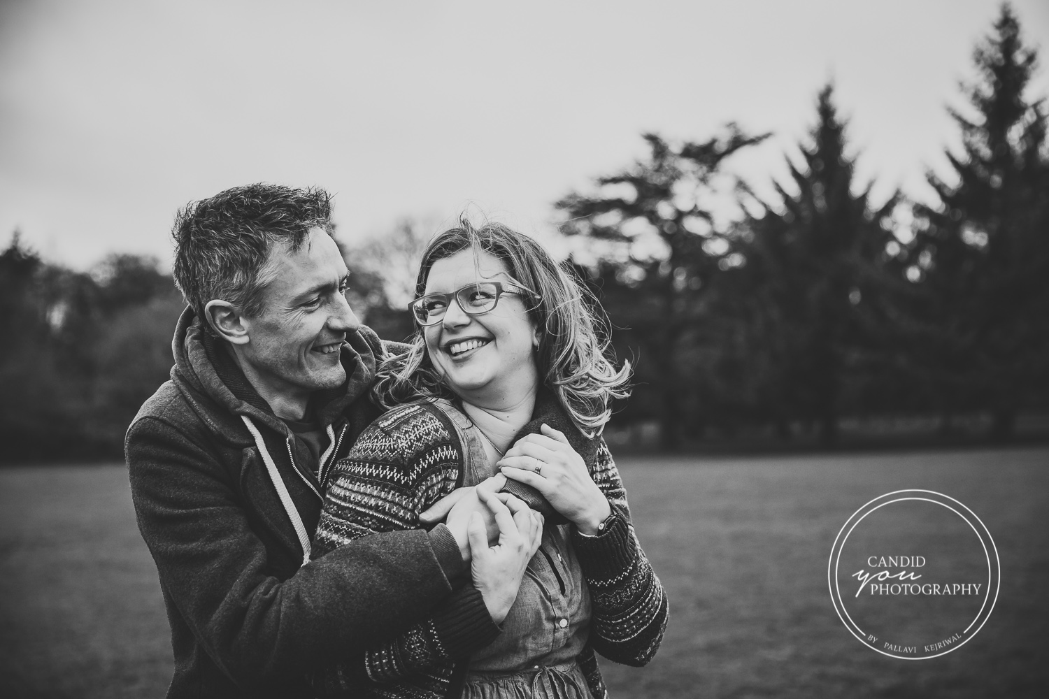 Harborne couple parents looks lovingly and romantically at each other