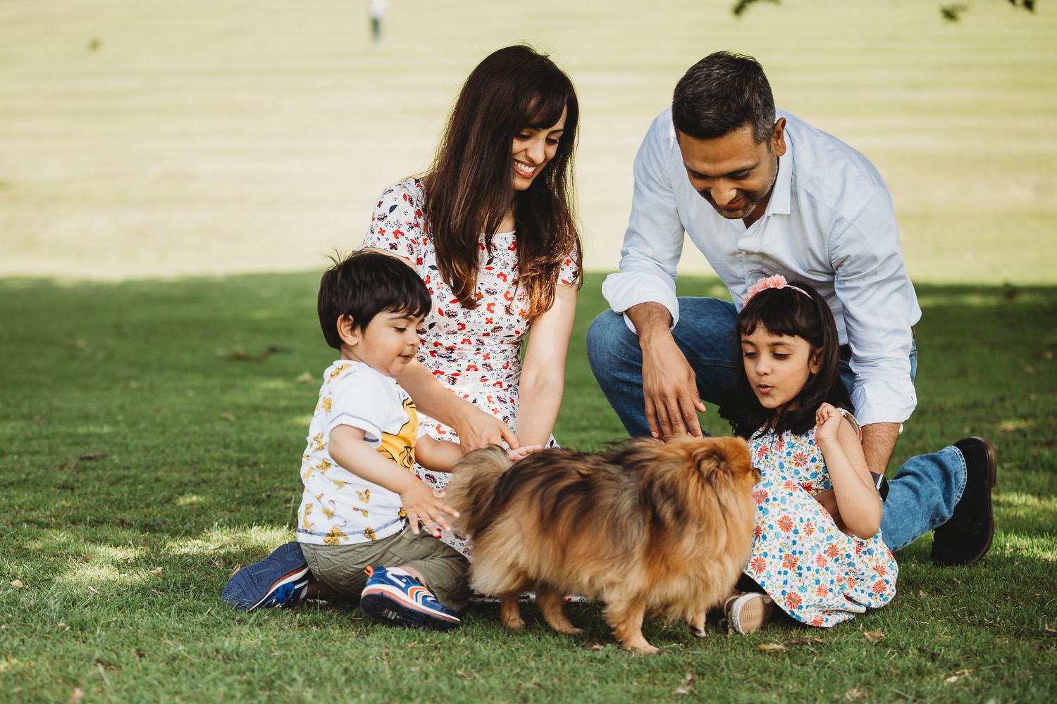 family of four playing with dog in park