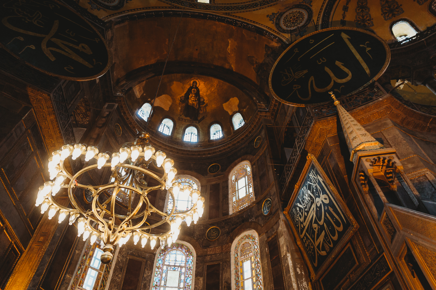 gorgeous lamps in Hagia Sofia Istanbul
