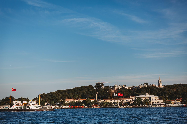 evening sun shining over istanbul bosphorus cruise