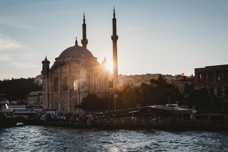 evening sun shining over istanbul