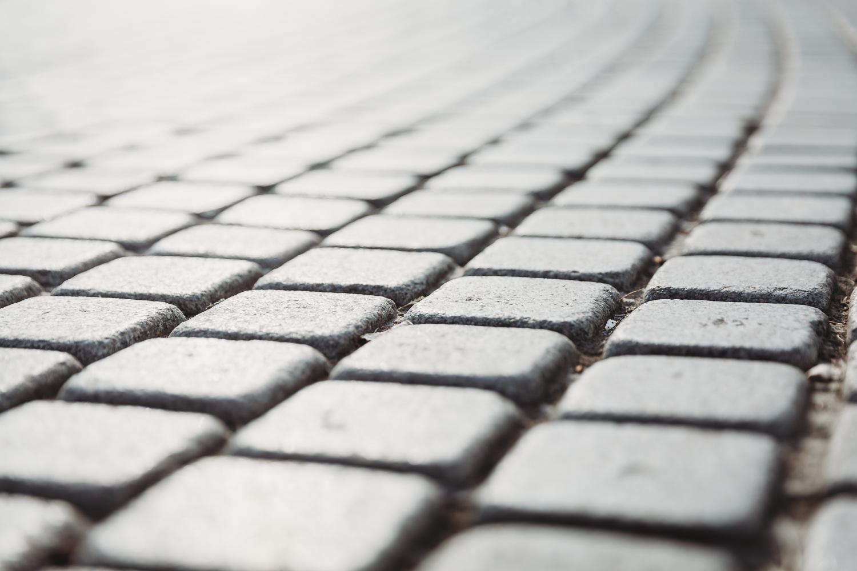 pebbled road close up