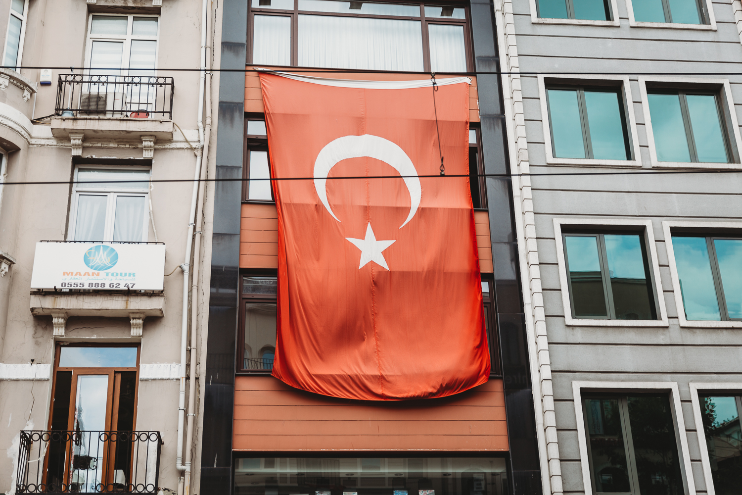 Flag of turkey on building